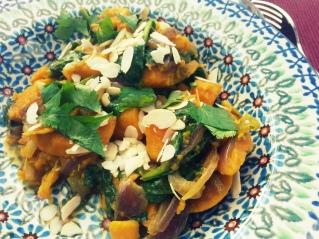 Sweet potato curry with parsley almonds ana's Bananas Blog