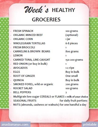 Anas Bananas week healthy groceries list printable