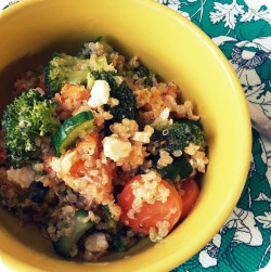 Quinoa salad with broccoli, feta and carrot healthy recipe Ana's Bananas Blog
