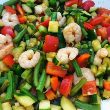 Shrimp and Veggie Stir-Fry with Brown Rice Noodles